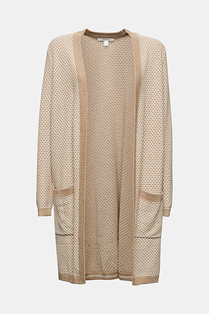 Long cardigan with organic cotton, BEIGE, detail image number 5