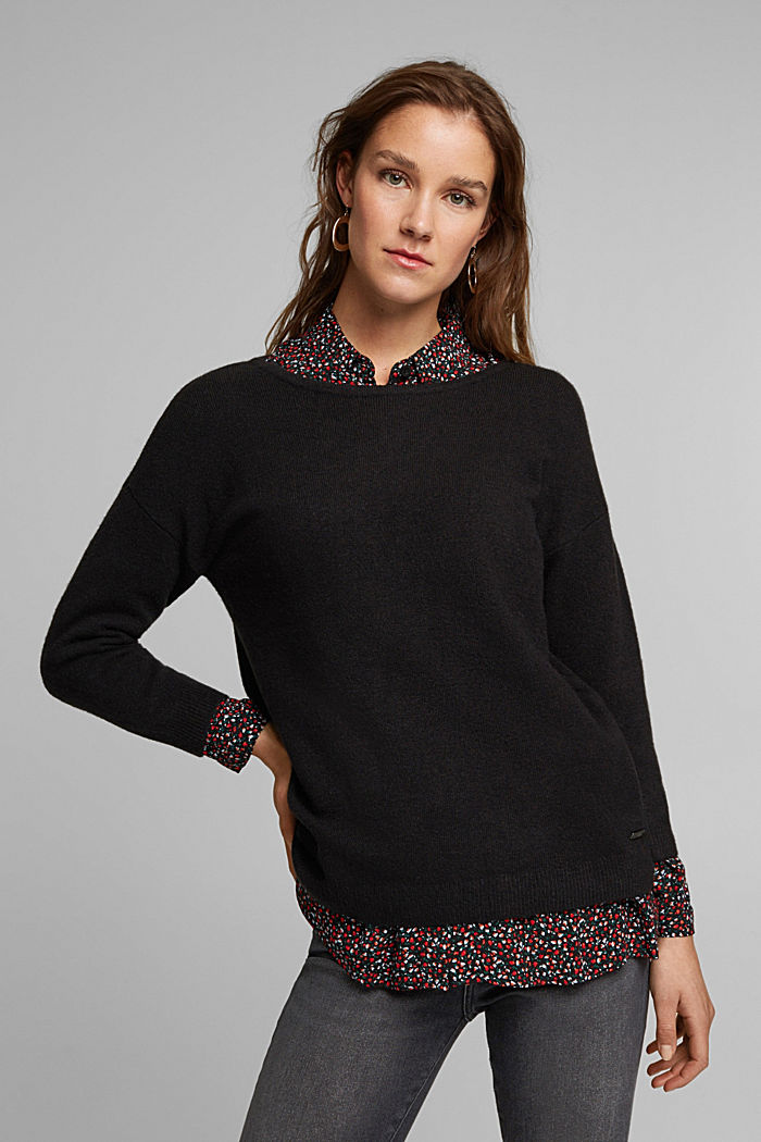 Knit jumper with wool, BLACK, overview