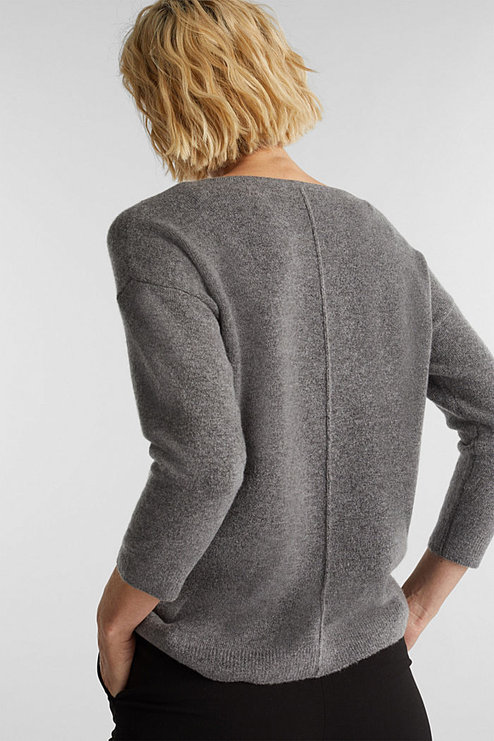 Strick-Pullover mit Wolle, GUNMETAL, detail image number 3