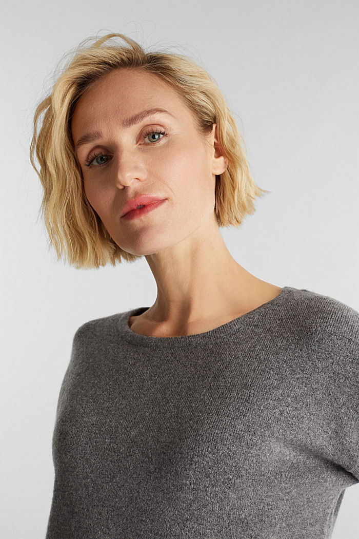 Strick-Pullover mit Wolle, GUNMETAL, detail image number 5
