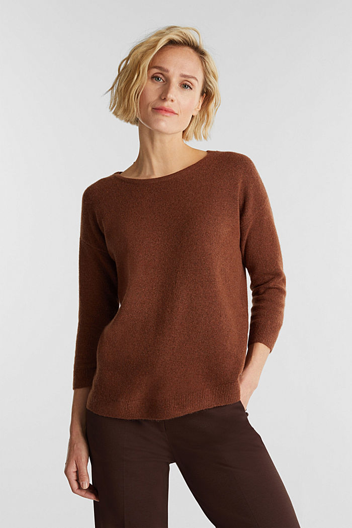 Knit jumper with wool, BROWN, detail image number 0