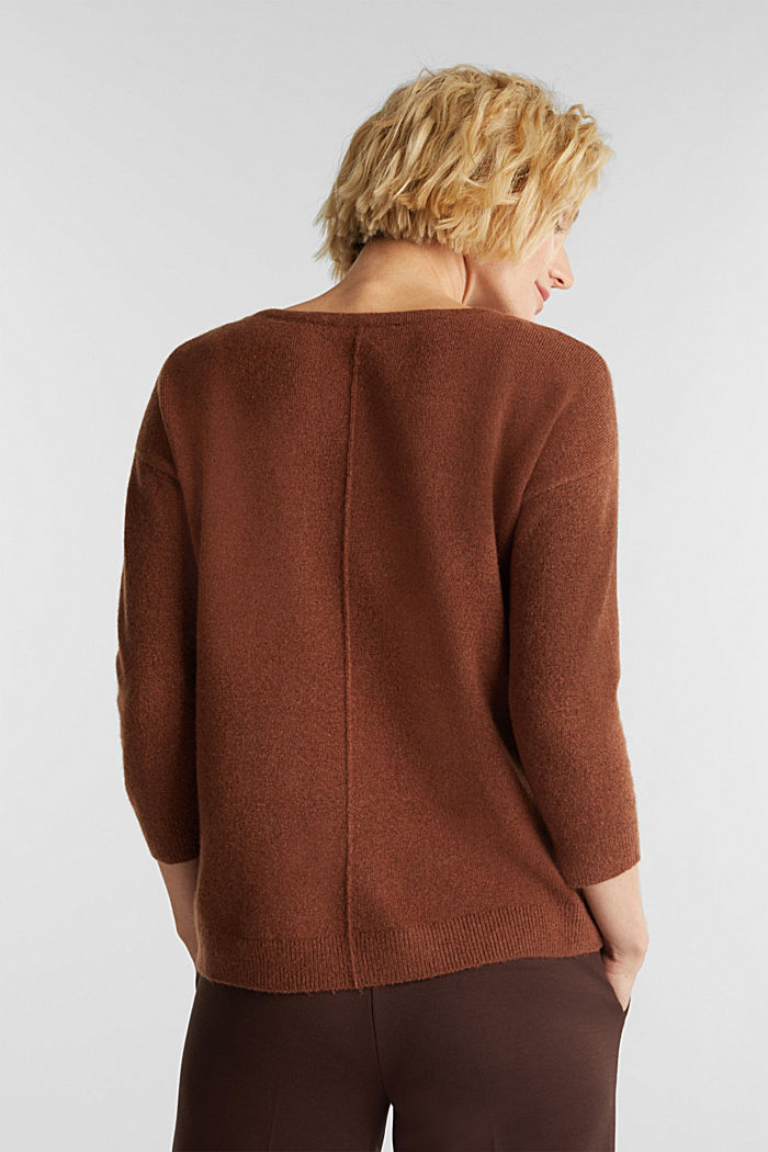 Knit jumper with wool, BROWN, detail image number 3