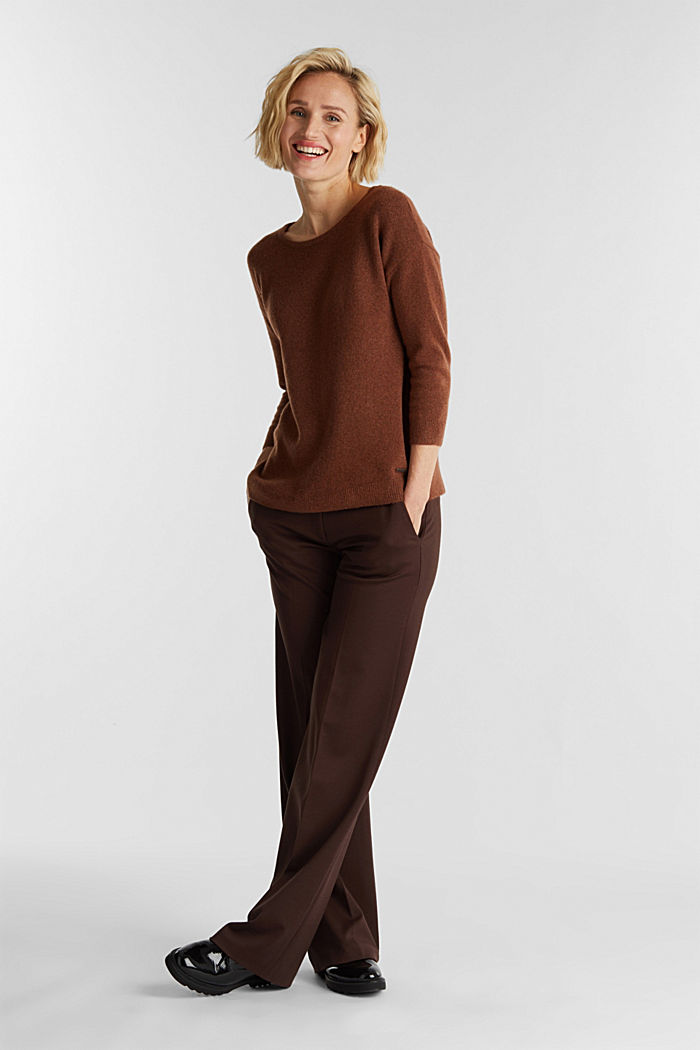 Knit jumper with wool, BROWN, detail image number 1