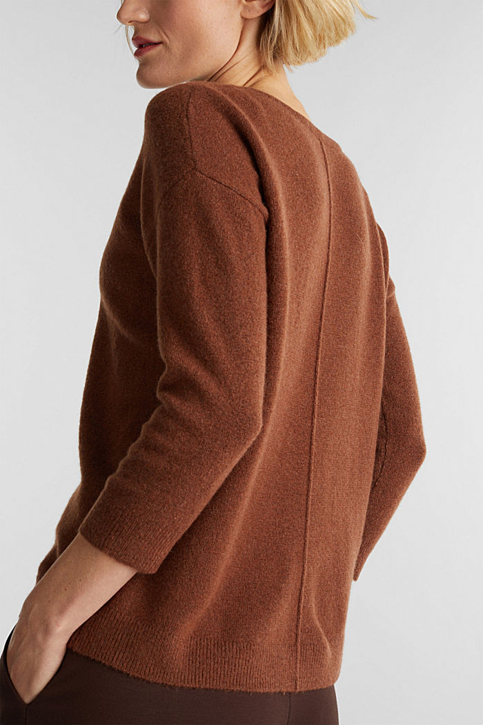 Knit jumper with wool, BROWN, detail image number 2
