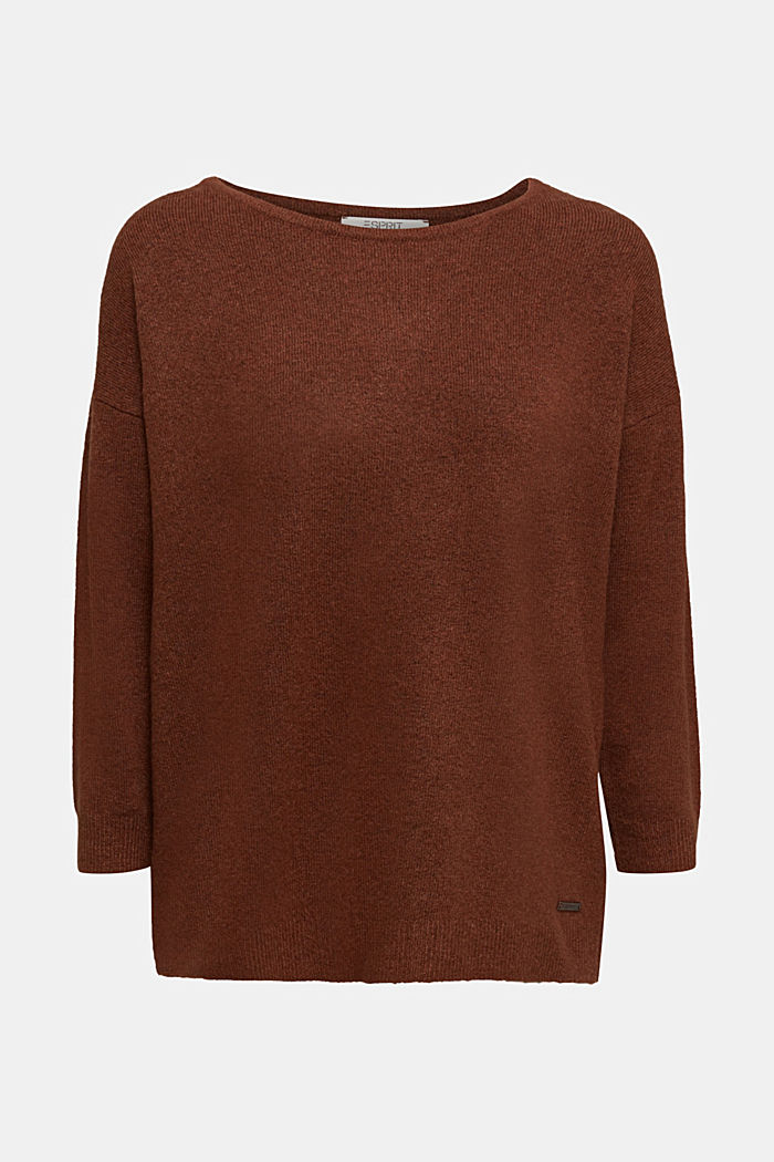 Knit jumper with wool, BROWN, detail image number 6