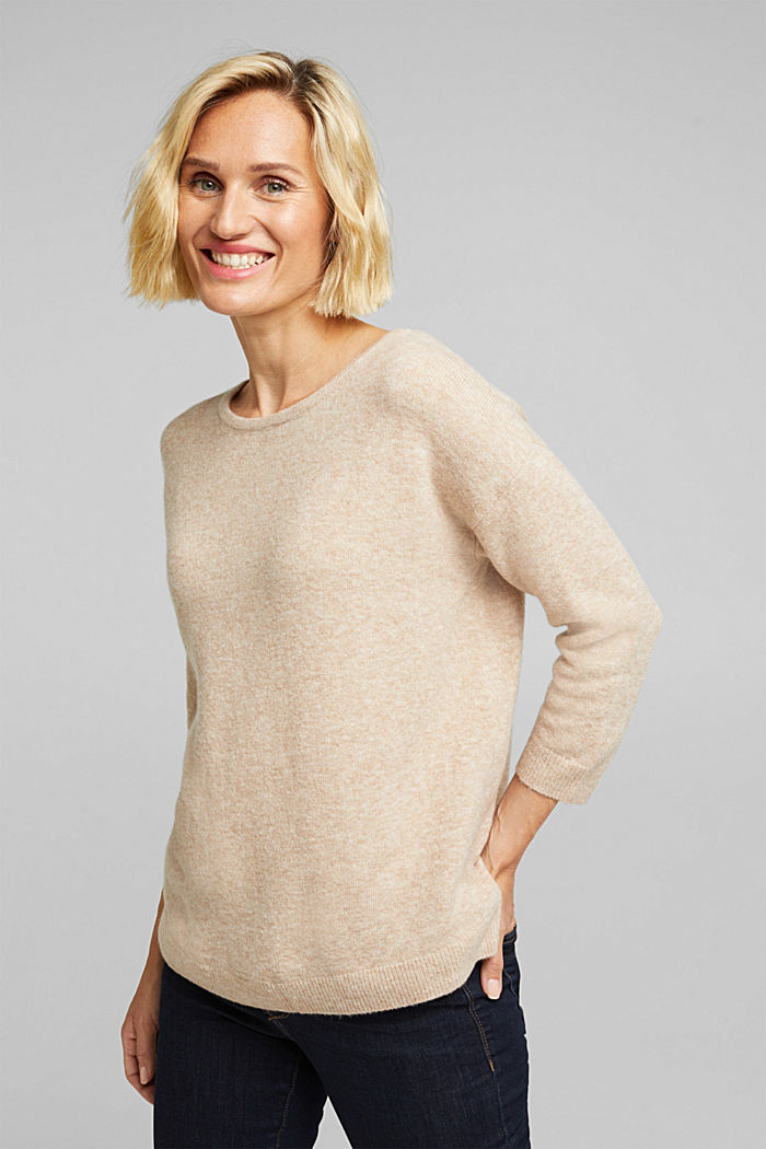 Knit jumper with wool, BEIGE, detail image number 0