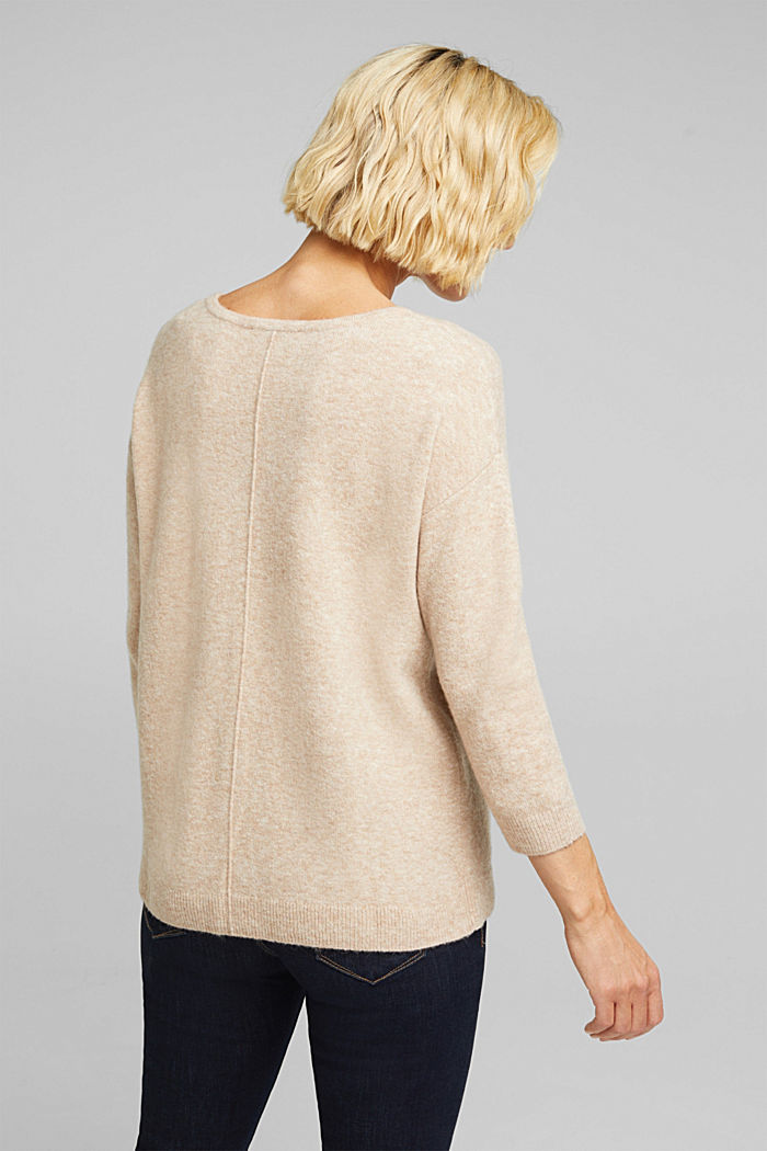 Knit jumper with wool, BEIGE, detail image number 3