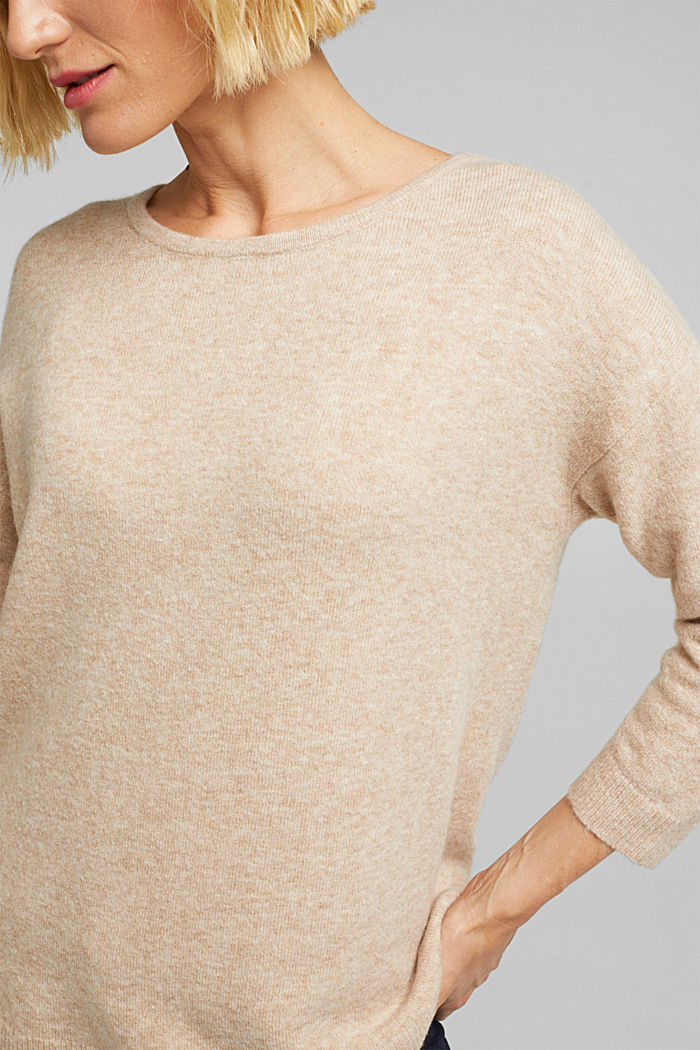 Knit jumper with wool, BEIGE, detail image number 2