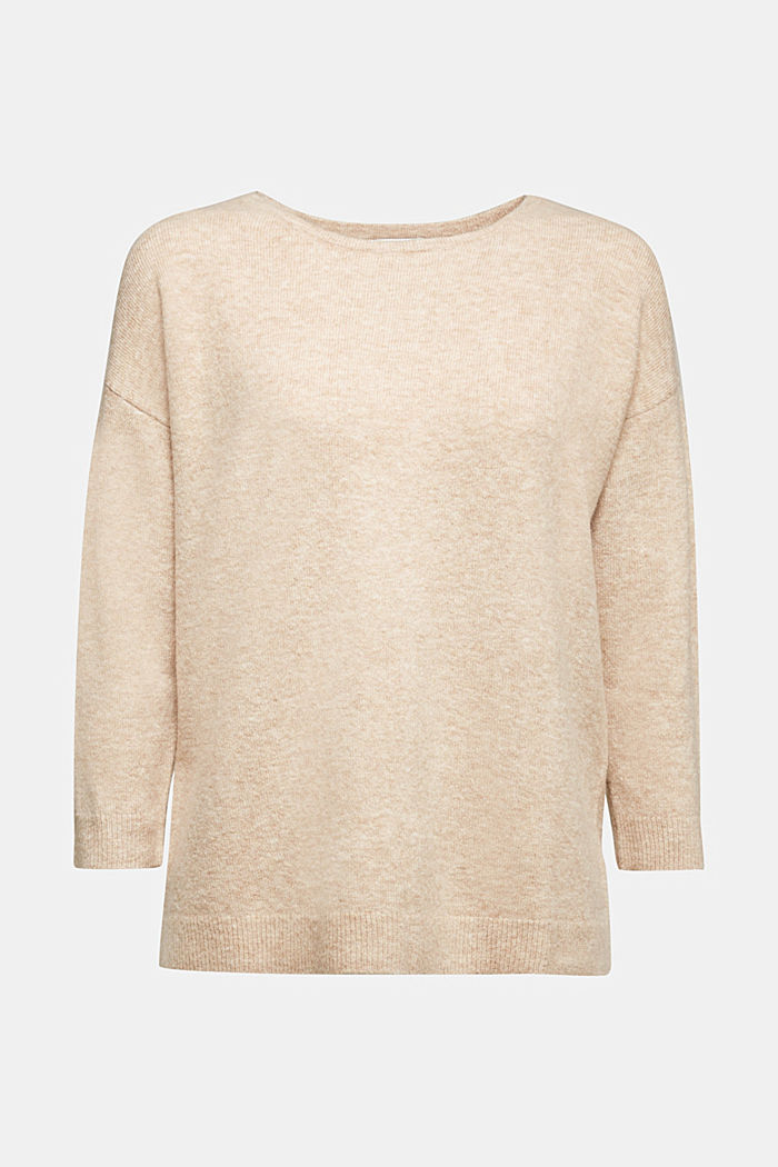 Knit jumper with wool, BEIGE, detail image number 6