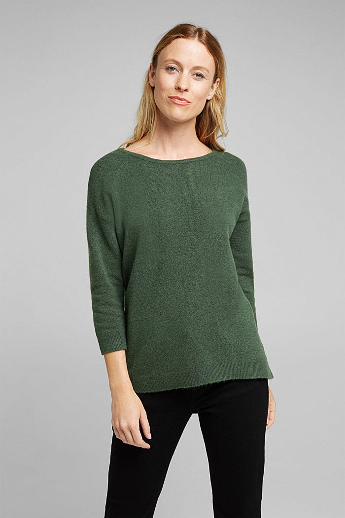 Strick-Pullover mit Wolle, DARK GREEN, detail image number 0