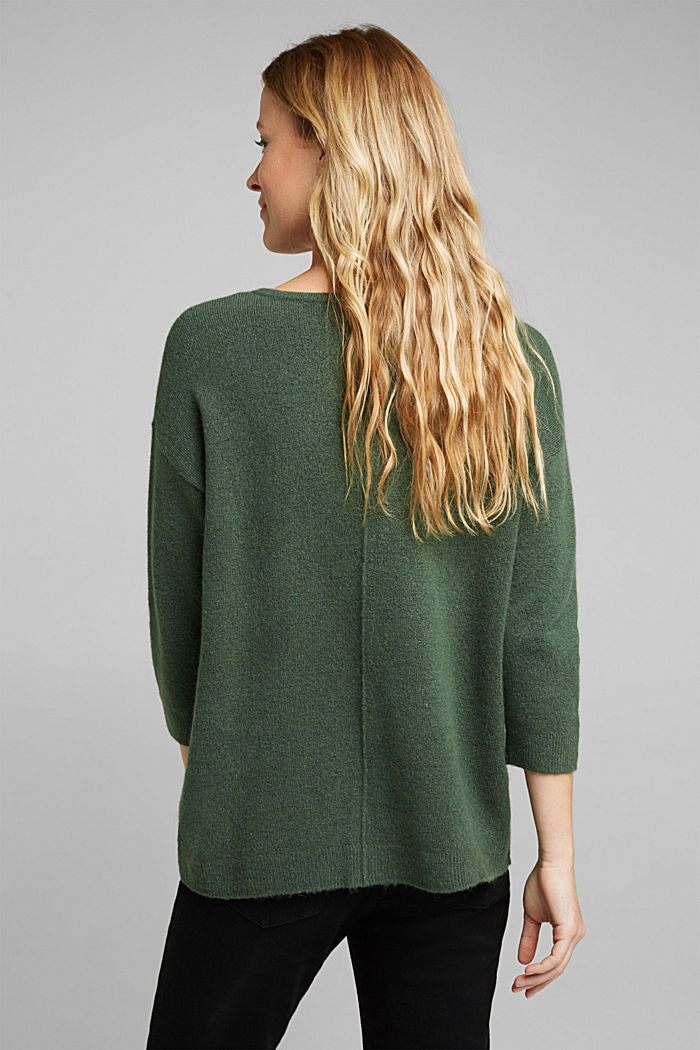 Strick-Pullover mit Wolle, DARK GREEN, detail image number 3