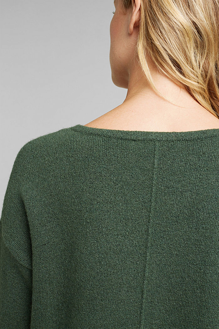 Knit jumper with wool, DARK GREEN, detail image number 2