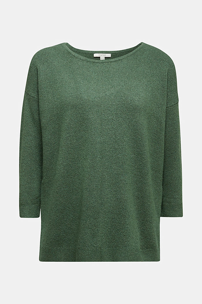 Strick-Pullover mit Wolle, DARK GREEN, detail image number 6