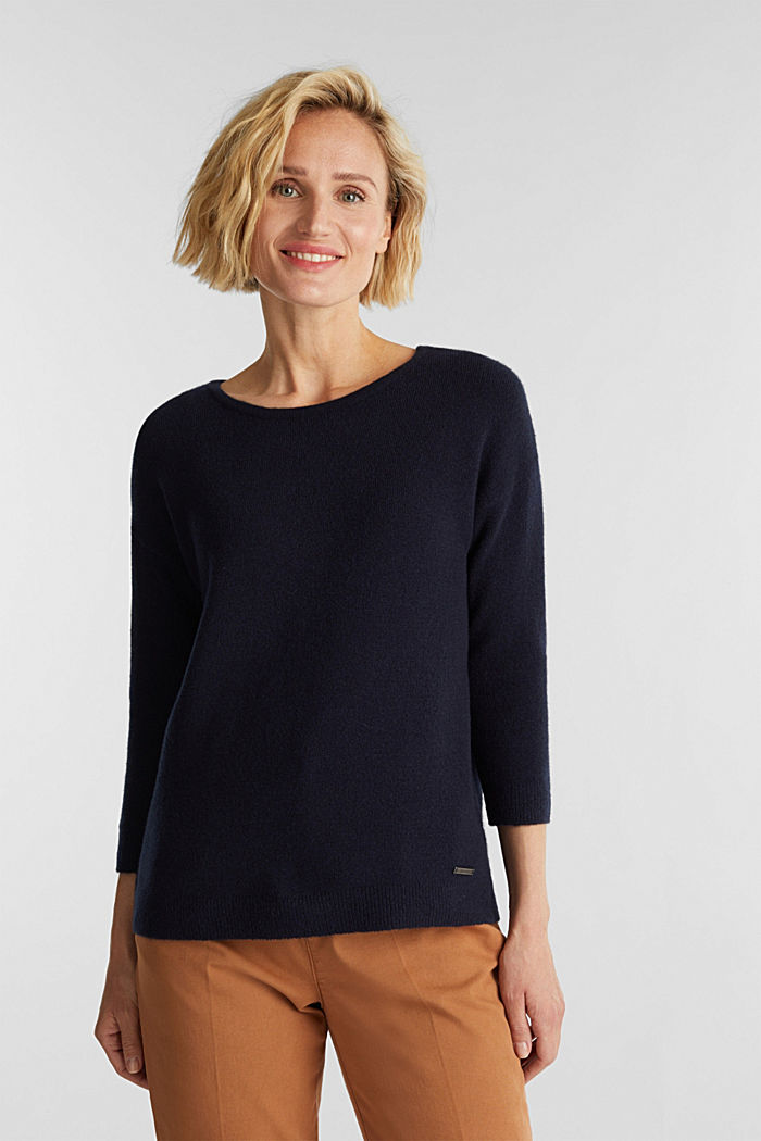 Knit jumper with wool, NAVY, detail image number 0