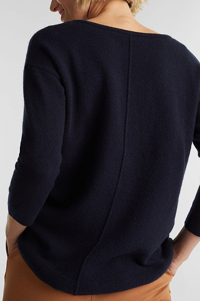 Knit jumper with wool, NAVY, detail image number 2