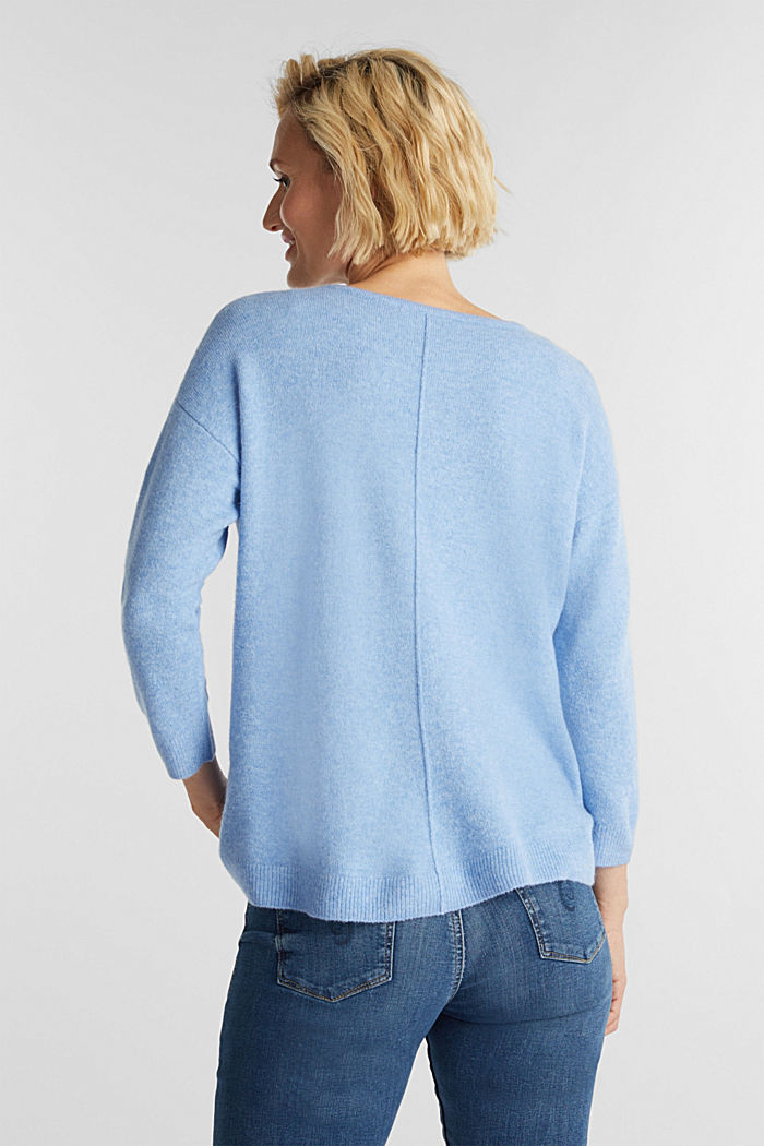 Strick-Pullover mit Wolle, LIGHT BLUE, detail image number 3
