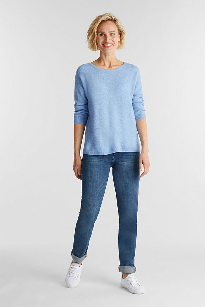 Strick-Pullover mit Wolle, LIGHT BLUE, detail image number 1