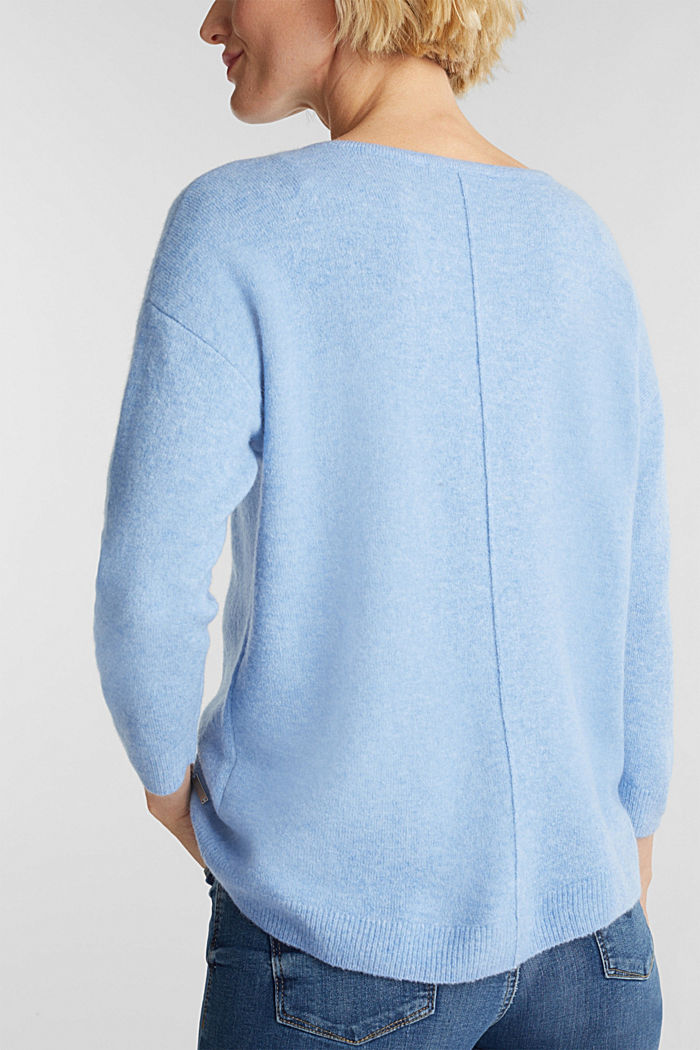 Strick-Pullover mit Wolle, LIGHT BLUE, detail image number 2