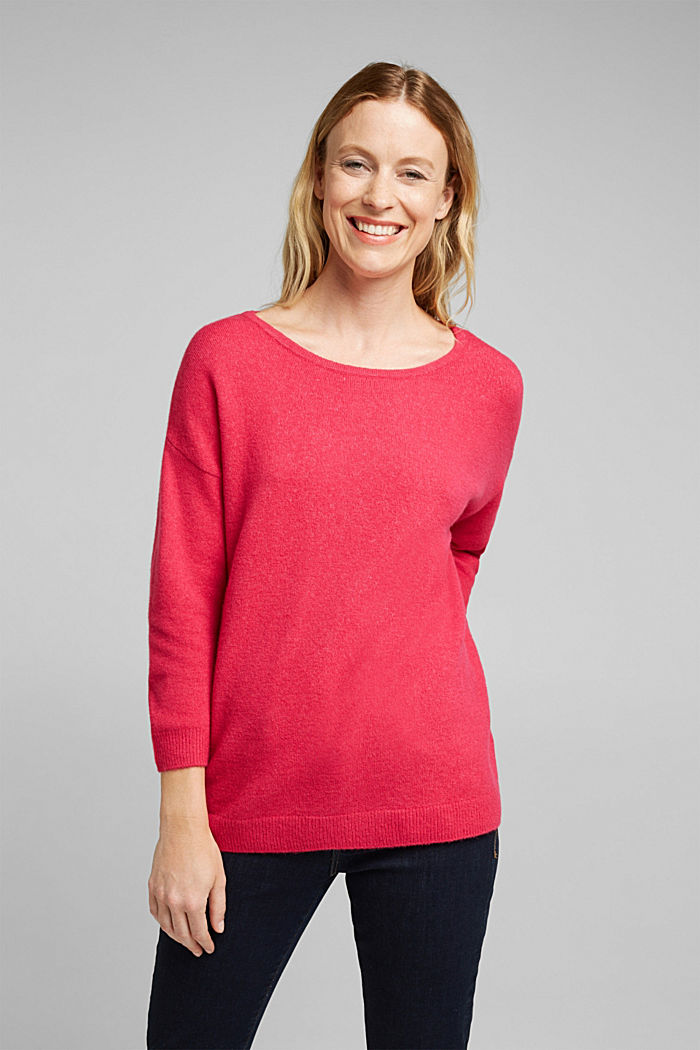 Knit jumper with wool, PINK FUCHSIA, detail image number 0