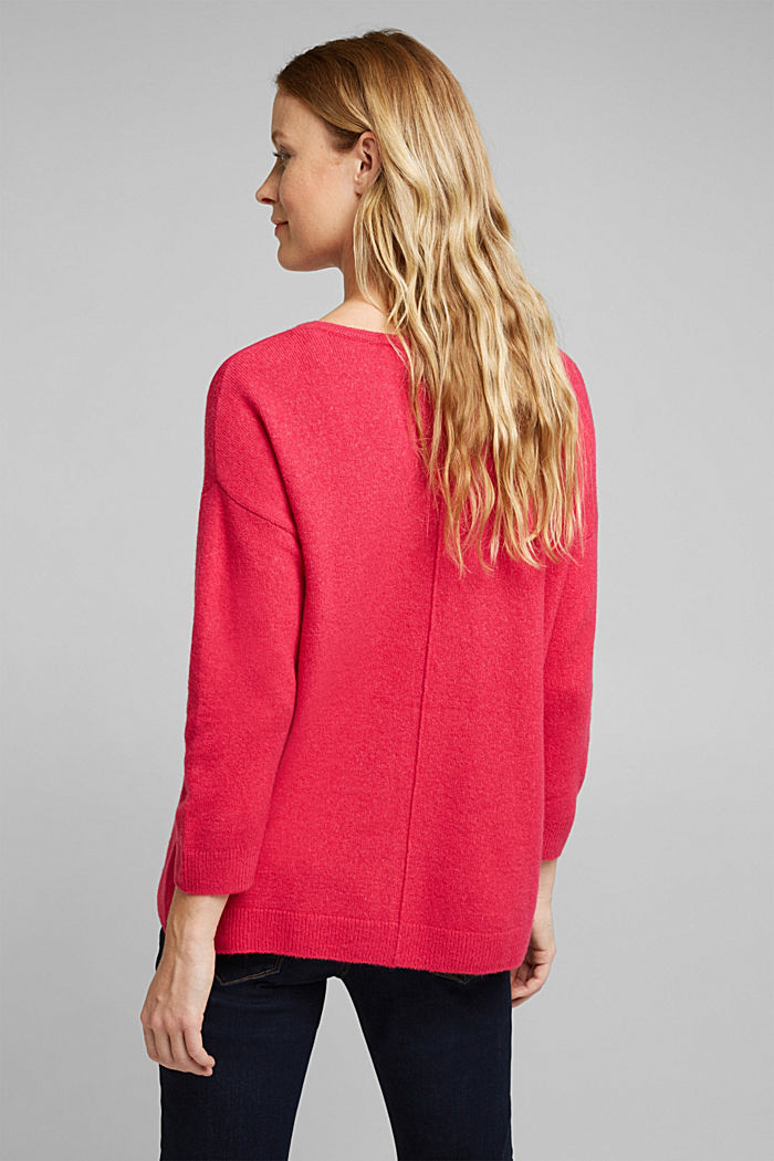 Knit jumper with wool, PINK FUCHSIA, detail image number 2
