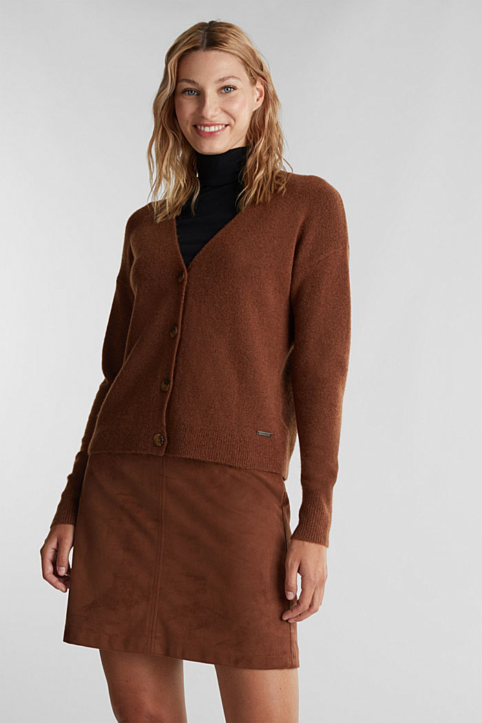 Cardigan made of soft blended wool, BROWN, detail image number 0