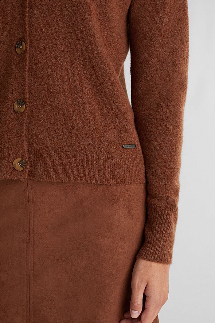 Cardigan made of soft blended wool, BROWN, detail image number 2