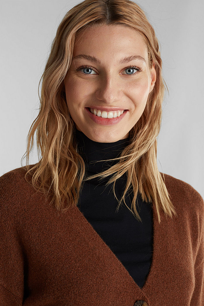 Cardigan made of soft blended wool, BROWN, detail image number 5