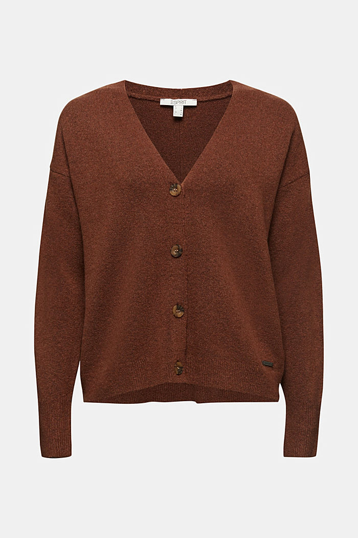 Cardigan made of soft blended wool, BROWN, detail image number 6