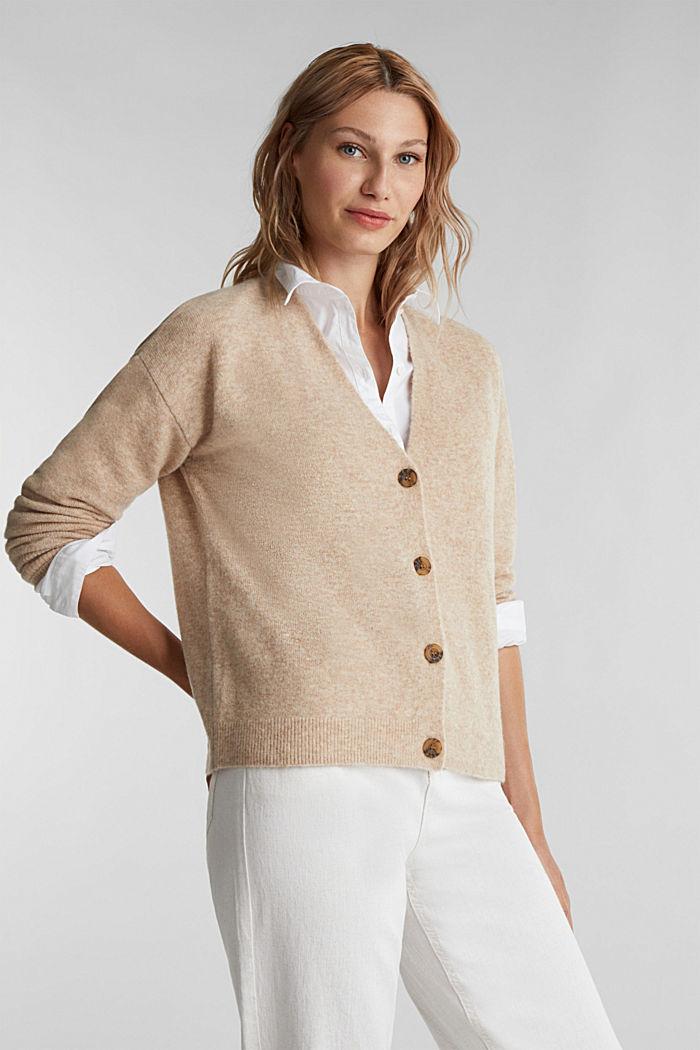 Mit Wolle: Cardigan mit V-Ausschnitt, BEIGE, detail image number 0