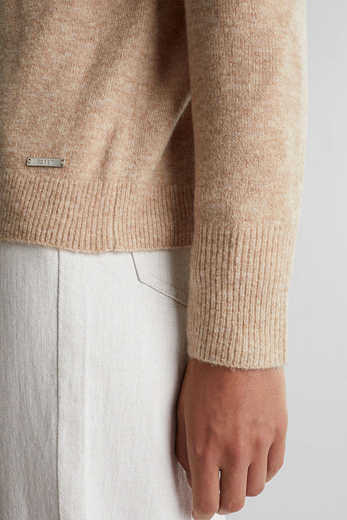 Mit Wolle: Cardigan mit V-Ausschnitt, BEIGE, detail image number 2