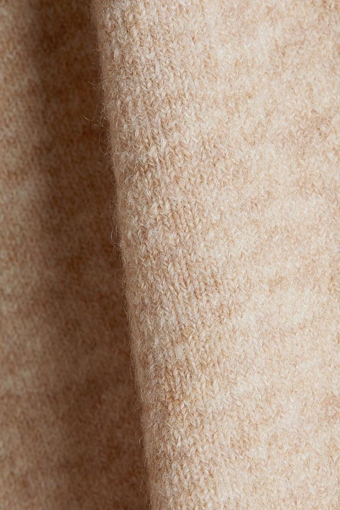 Mit Wolle: Cardigan mit V-Ausschnitt, BEIGE, detail image number 4