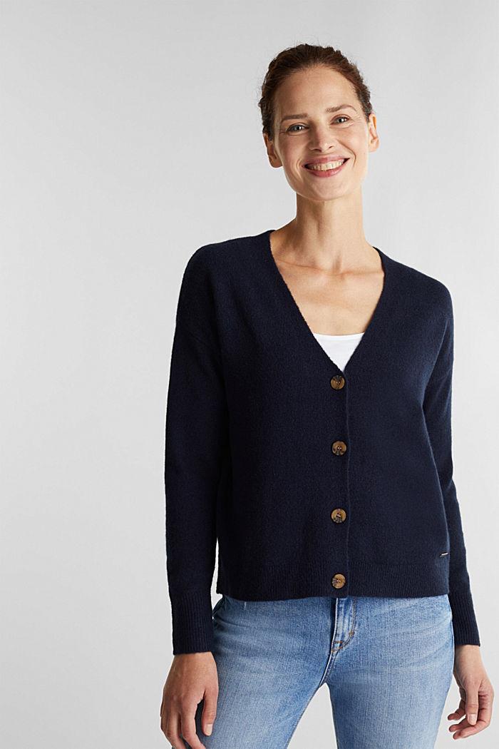 Wool blend: V-neck cardigan, NAVY, detail image number 0