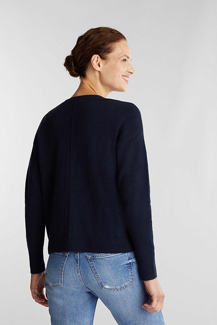 Wool blend: V-neck cardigan, NAVY, detail image number 3