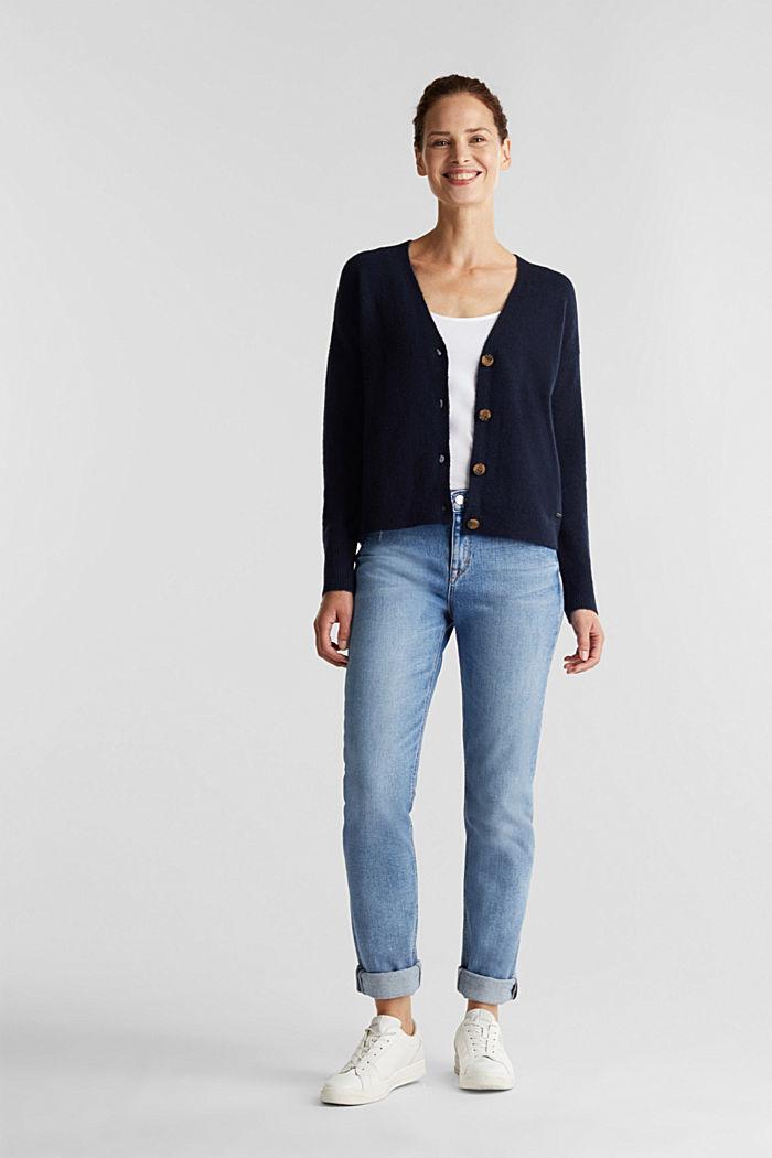 Wool blend: V-neck cardigan, NAVY, detail image number 1