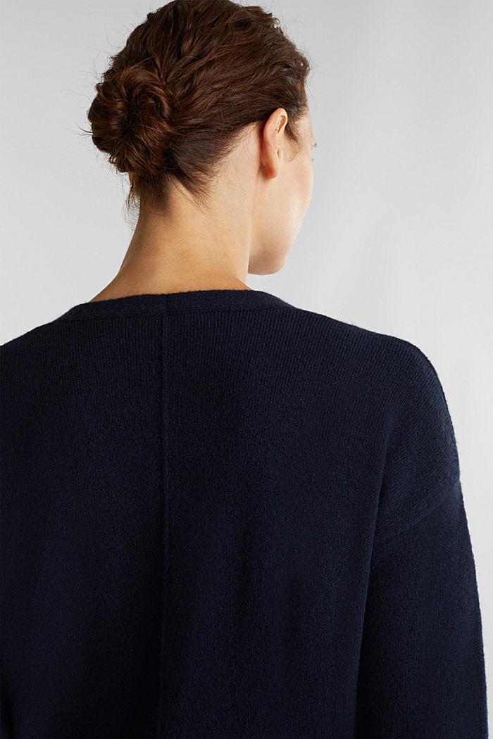 Wool blend: V-neck cardigan, NAVY, detail image number 5