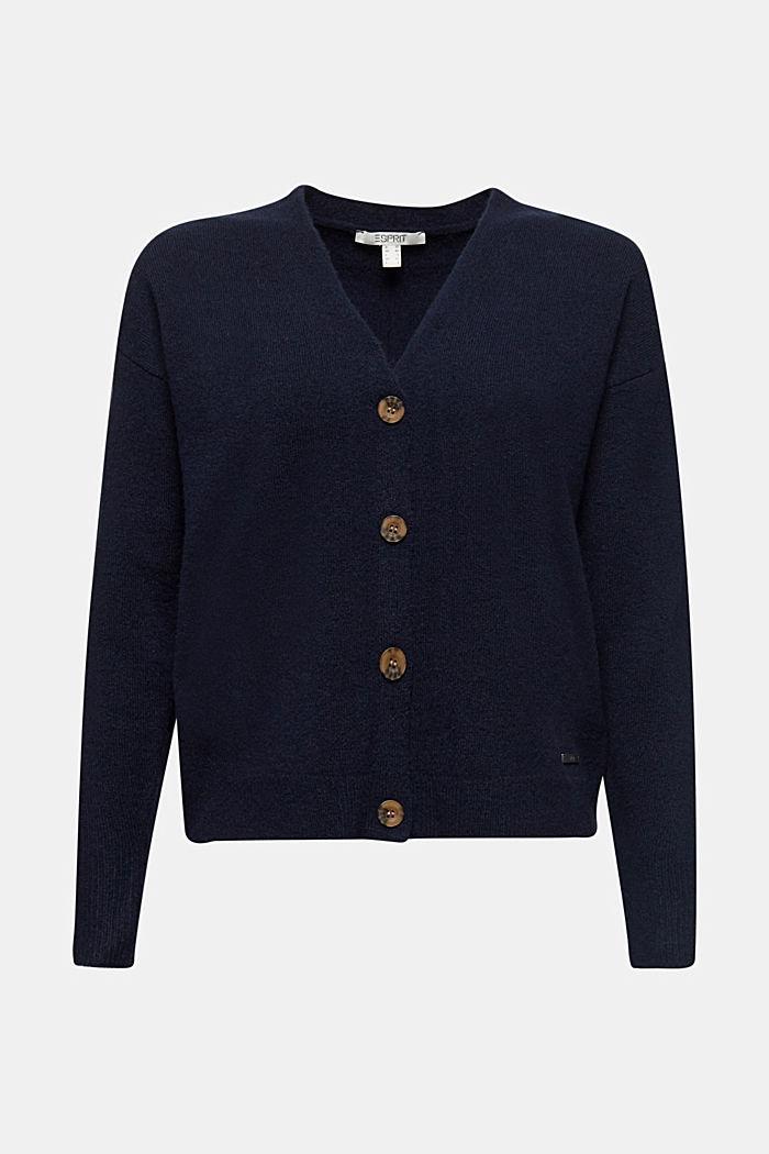 Wool blend: V-neck cardigan, NAVY, detail image number 7