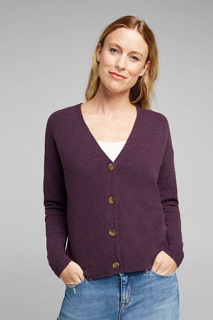 Cardigan made of soft blended wool, AUBERGINE, detail image number 0