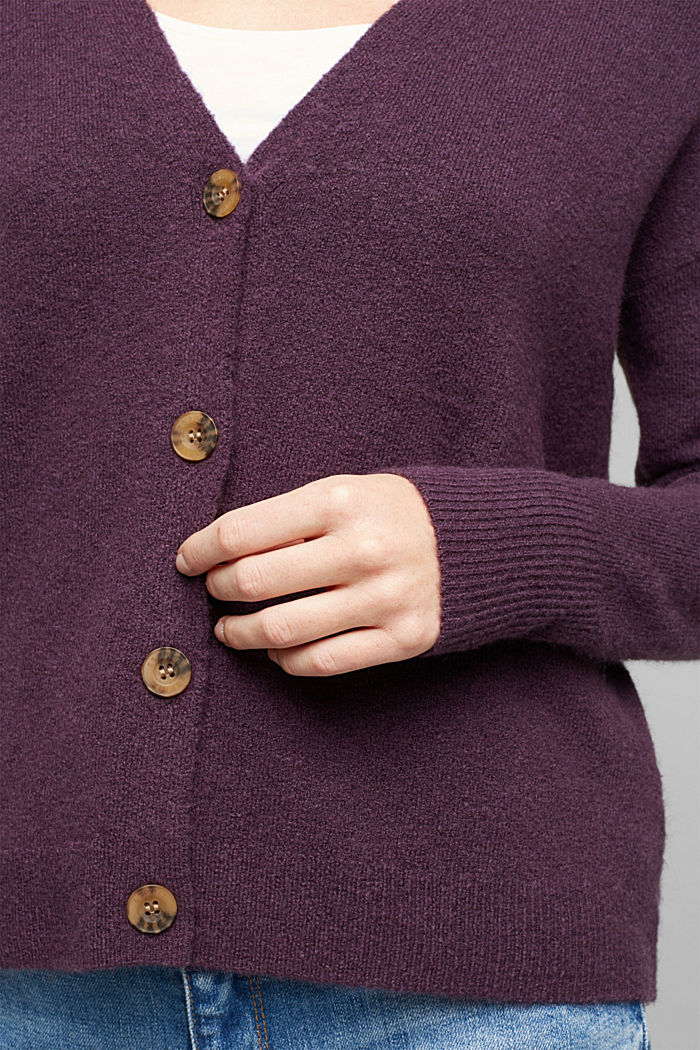Cardigan made of soft blended wool, AUBERGINE, detail image number 2