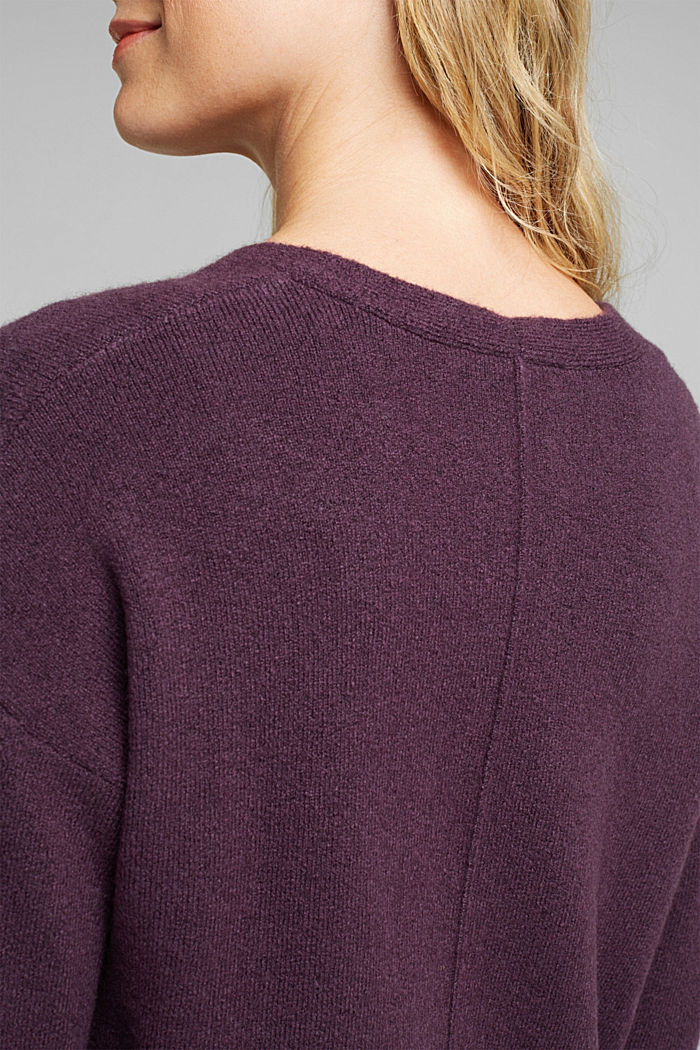 Cardigan made of soft blended wool, AUBERGINE, detail image number 5