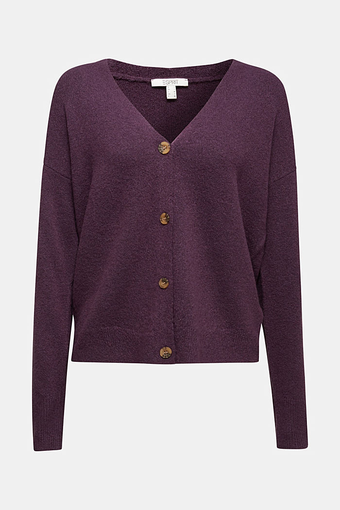 Cardigan made of soft blended wool, AUBERGINE, detail image number 7