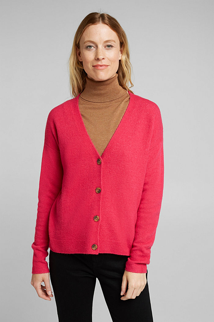 Cardigan made of soft blended wool, PINK FUCHSIA, detail image number 0
