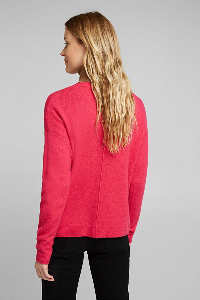 Cardigan made of soft blended wool, PINK FUCHSIA, detail image number 2