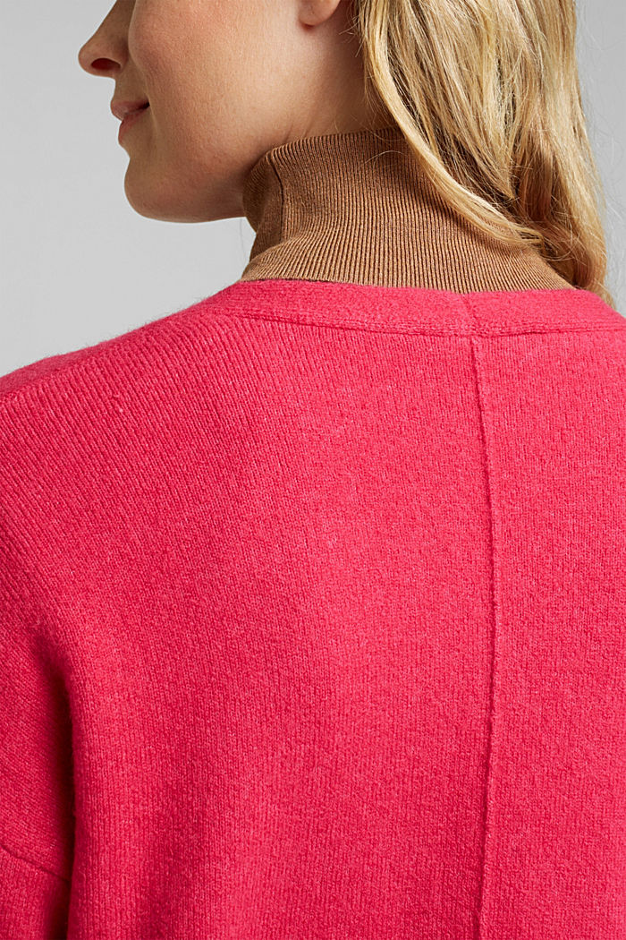 Cardigan made of soft blended wool, PINK FUCHSIA, detail image number 4