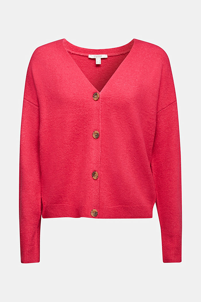 Cardigan made of soft blended wool, PINK FUCHSIA, detail image number 6