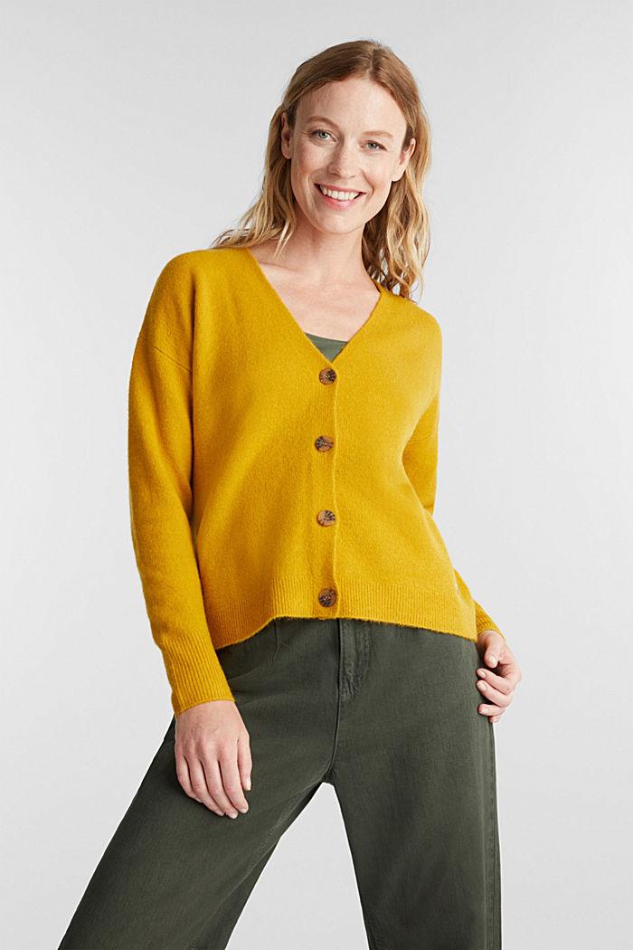 Wool blend: V-neck cardigan, BRASS YELLOW, detail image number 0