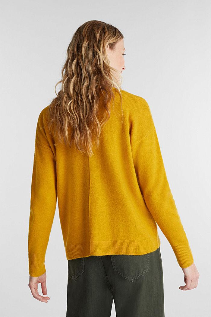 Wool blend: V-neck cardigan, BRASS YELLOW, detail image number 3