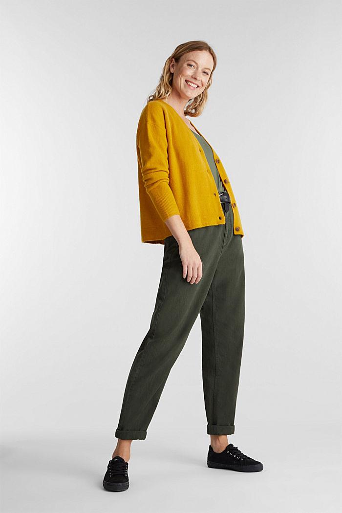 Wool blend: V-neck cardigan, BRASS YELLOW, detail image number 1