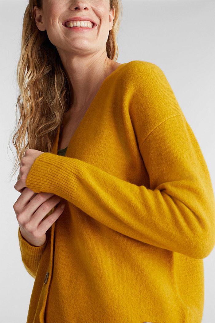 Wool blend: V-neck cardigan, BRASS YELLOW, detail image number 2