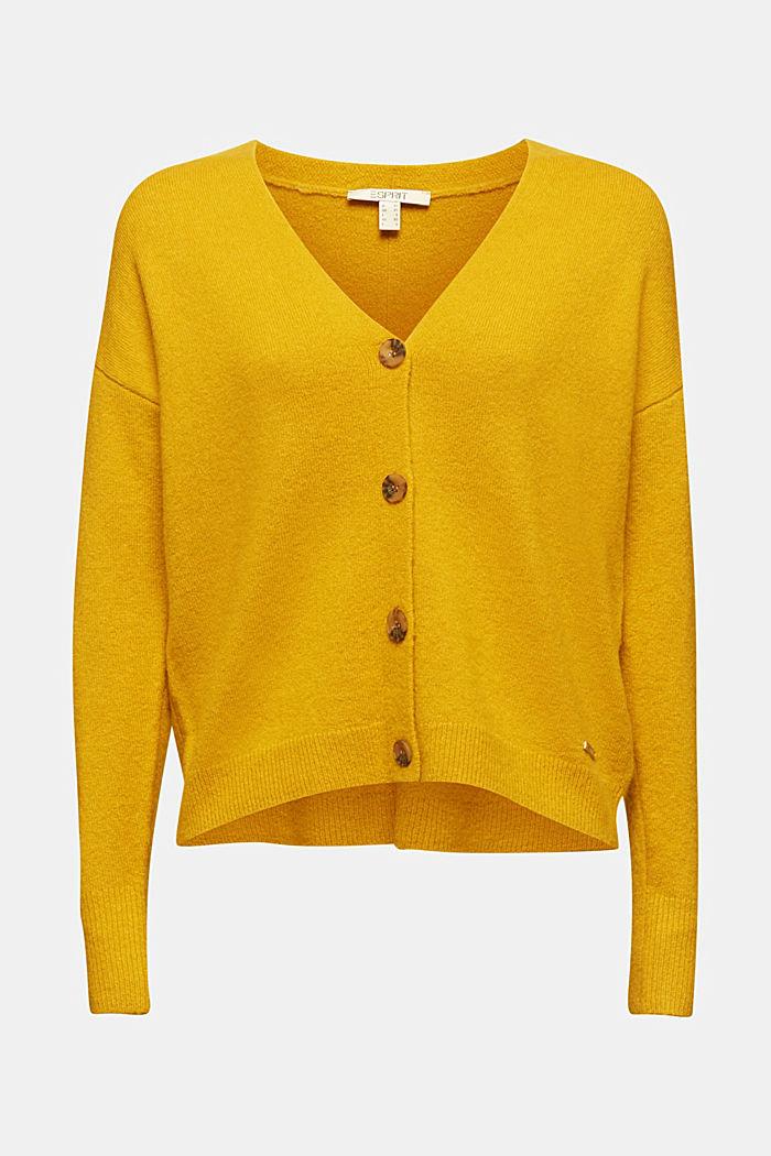 Wool blend: V-neck cardigan, BRASS YELLOW, detail image number 5