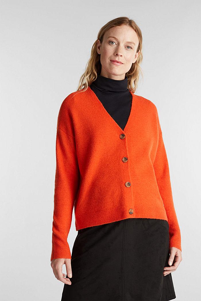 Cardigan made of soft blended wool, RUST ORANGE, detail image number 0